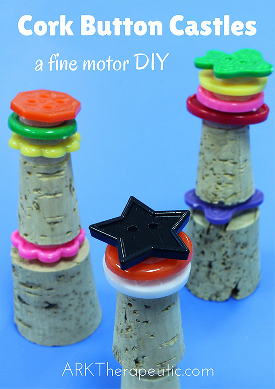 Cork Button Castles - DIY Fine Motor Activity