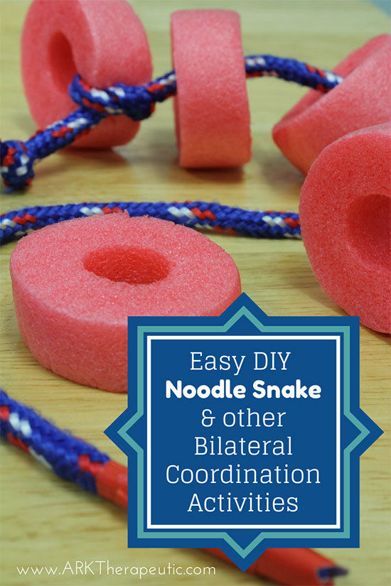 DIY Noodle Snake & Fun Activities for Bilateral Coordination